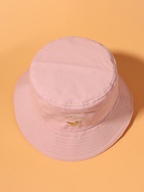 Banana Letter Embroidery Cotton Bucket Hat - زهري  Mobile
