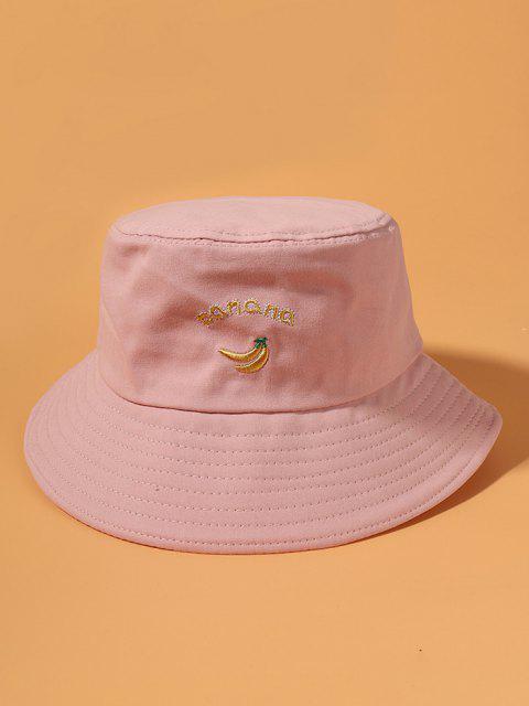 Chapéu de Balde de Algodão com Bordado de Banana - Rosa  Mobile