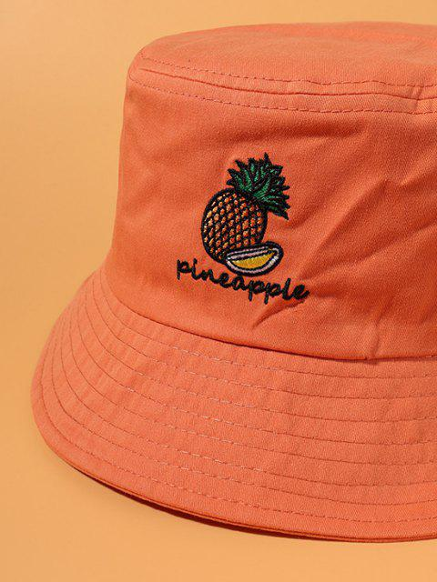 online Letter Pineapple Embroidery Cotton Bucket Hat - TANGERINE  Mobile