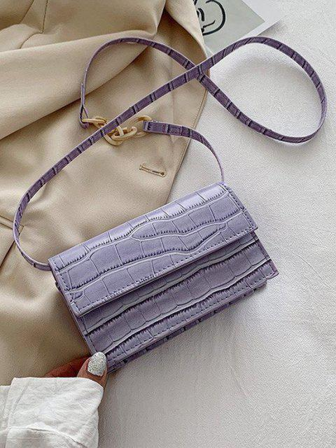 new Minimalist Embossed Chunky Chain Flap Crossbody Bag - LAVENDER BLUE  Mobile