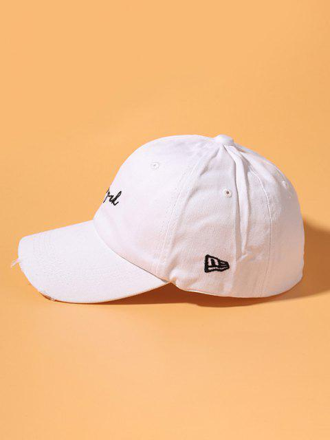 shops Letter Embroidery Ripped Cotton Baseball Cap - WHITE  Mobile