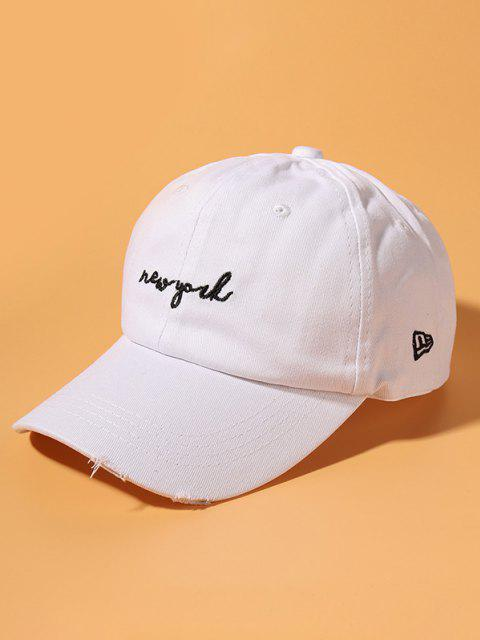 Letter Embroidery Ripped Cotton Baseball Cap - أبيض  Mobile