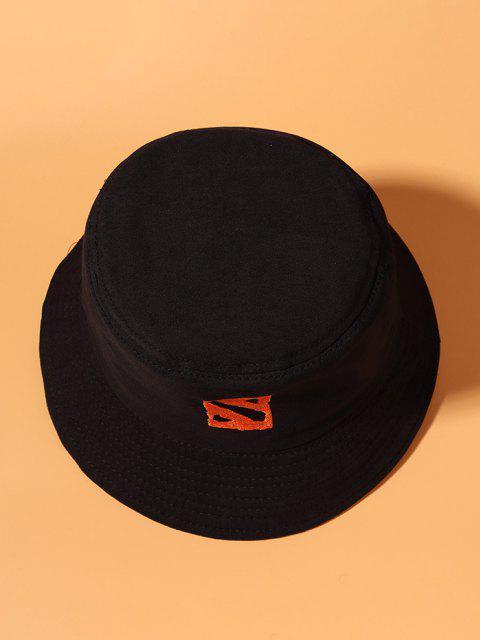 Chapéu de Balde de Algodão Bordado com Padrão da Letra - Preto  Mobile