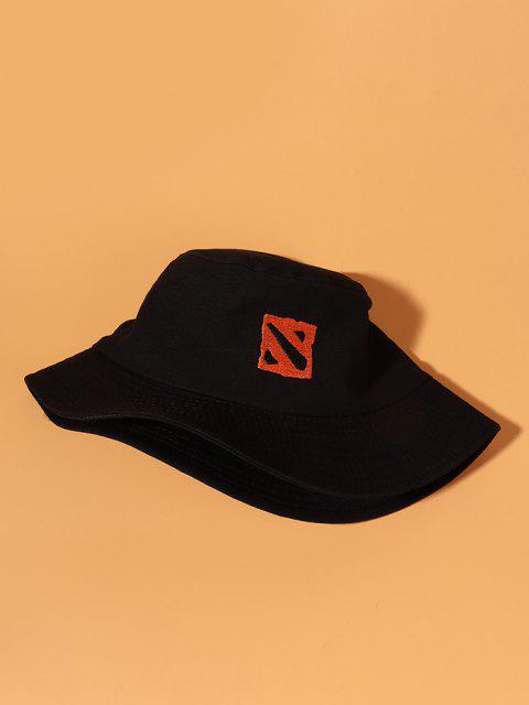 Sombrero de Cubo Cubo Algodón Bordado Patrón Cuadrado - Negro  Mobile