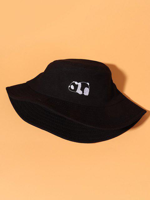 fashion Panda Embroidery Cotton Casual Bucket Hat - BLACK  Mobile