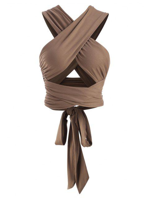 latest Tie Back Criss Cross Wrap Crop Top - COFFEE ONE SIZE Mobile