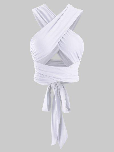 Tie Back Criss Cross Wrap Crop Top - White