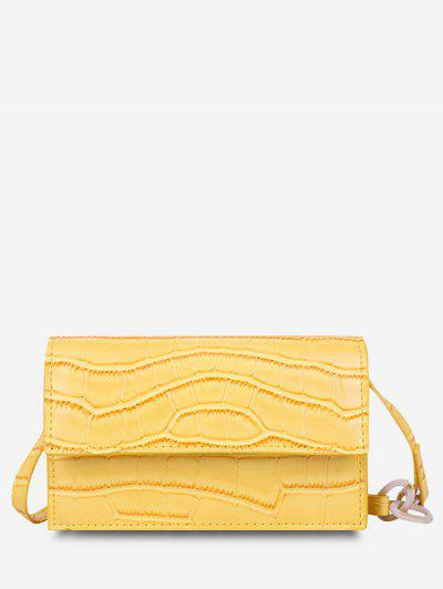 Minimalist Embossed Chunky Chain Flap Crossbody Bag - Sun Yellow