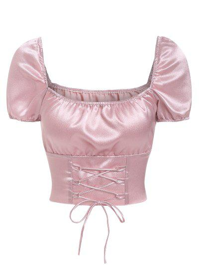 Lace Up Cropped Satin Blouse - Light Pink S