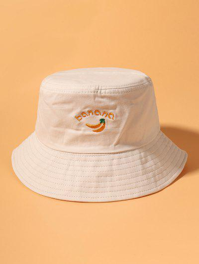 Banana Letter Embroidery Cotton Bucket Hat - Beige