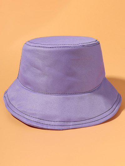 Metallic Topstitching Detail Casual Bucket Hat - Purple