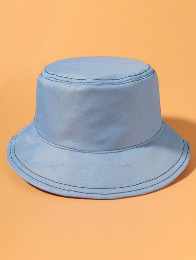 Metallische Cropped Detail Lässige Bucket Hut - Himmelblau