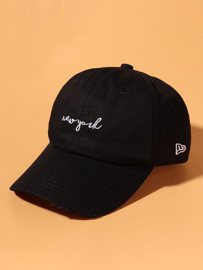 Letter Embroidered Ripped Cotton Baseball Cap - Black