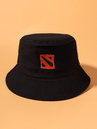 Square Pattern Embroidered Cotton Bucket Hat - Black
