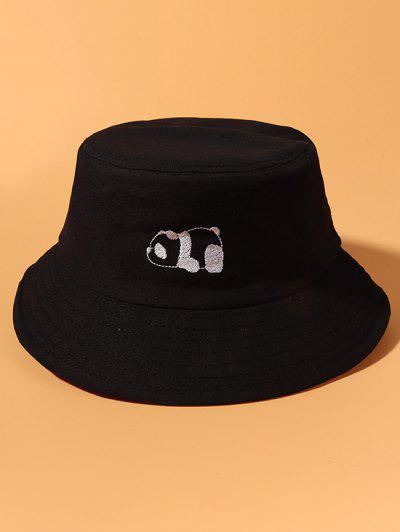 Panda Embroidery Cotton Casual Bucket Hat - Black