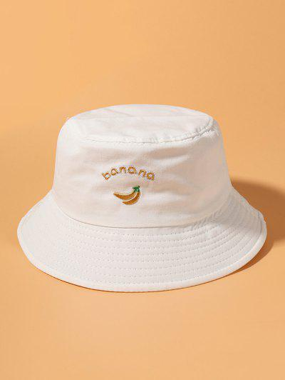 Banana Letter Embroidery Cotton Bucket Hat - White