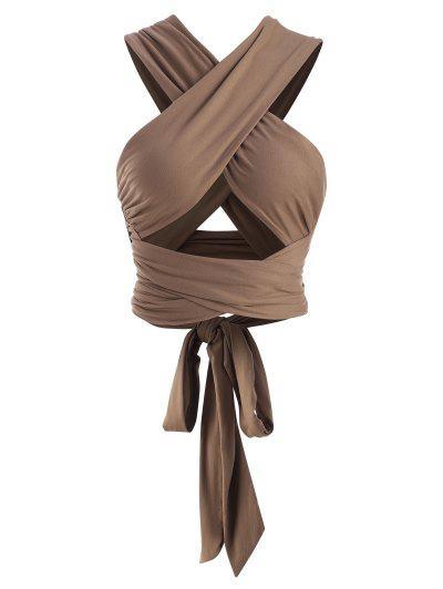 Tie Back Criss Cross Wrap Crop Top - Coffee