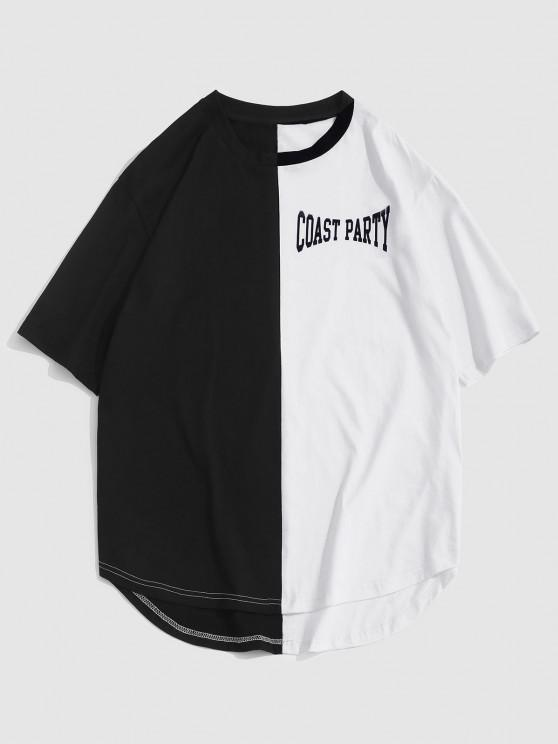 ZAFUL Letter Print Two Tone Monochrome T-shirt - أسود S