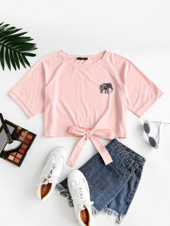 ZAFUL Plus Size Elephant Print Self-tie Raglan Sleeve Tee - برتقالي فاتح L
