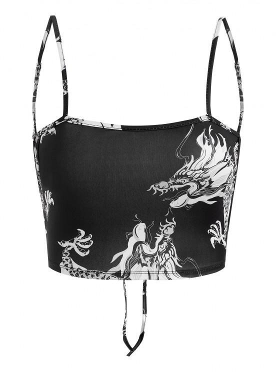 unique Dragon Print Oriental Tie Crop Top - BLACK S