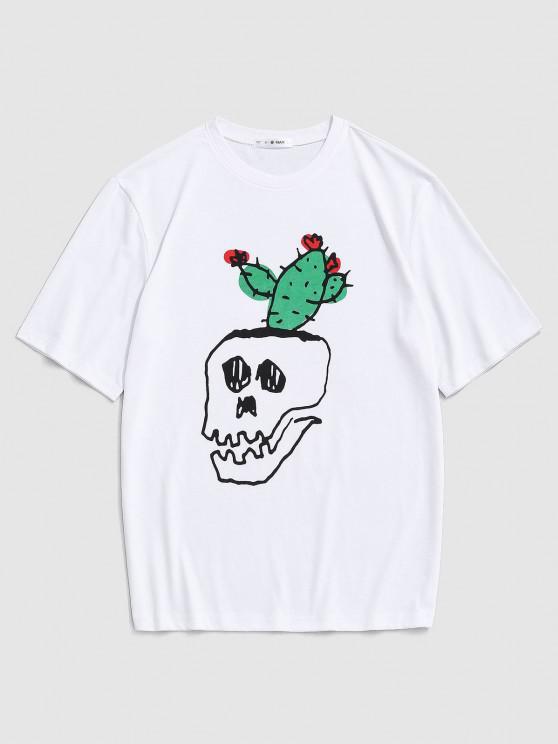 women Cartoon Skull Cactus Print T-shirt - WHITE M