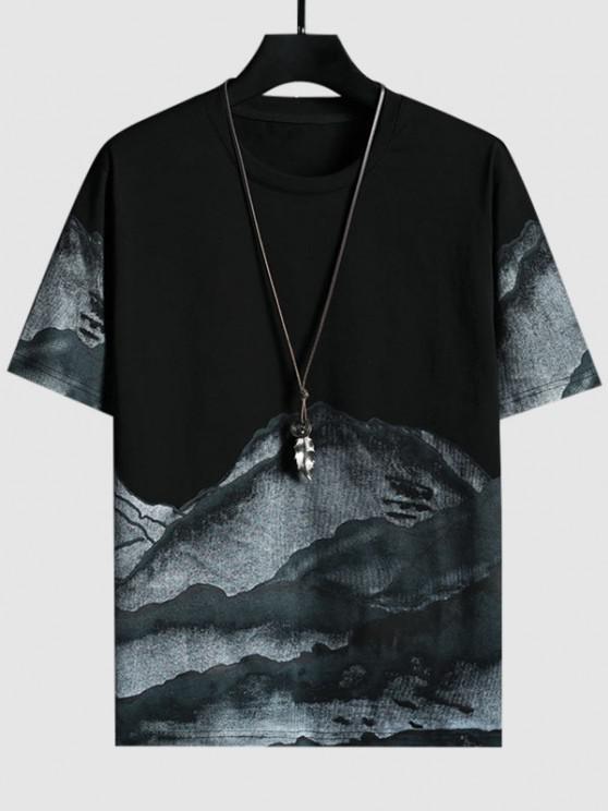 T-shirt de Manga Curta de Impressão de Tinta de Pintura Chinesa - Preto S