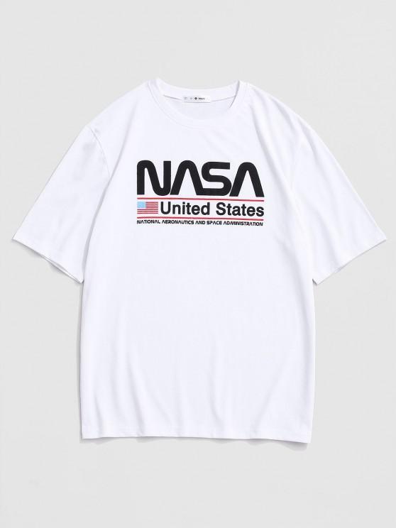 Amerikanische Flagge der Vereinigten Staaten, die Grafik-T-Shirt Ausdrucken - Weiß M