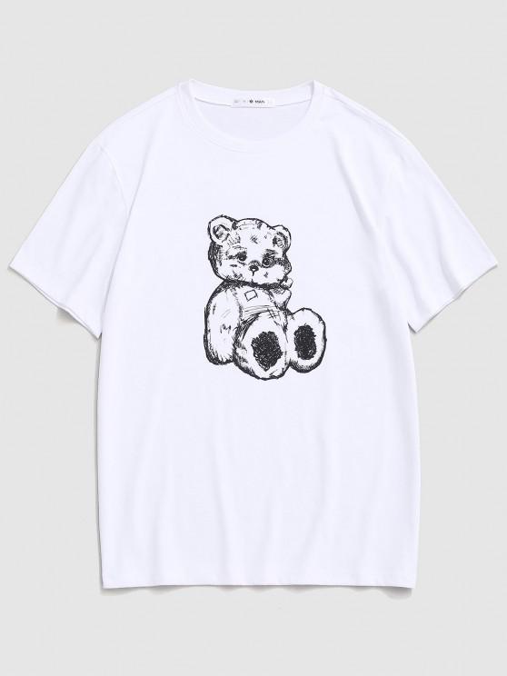 fashion Cartoon Bear Print Cute T-shirt - WHITE L