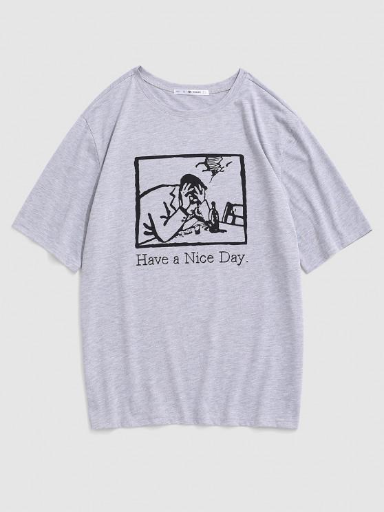 T-shirt Lettre Graphique Slogan Imprimé - Gris S