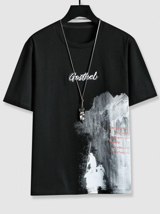 Letter Embroidered Graphic Print T-shirt - أسود XS