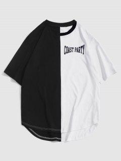 ZAFUL Letter Print Two Tone Monochrome T-shirt - Black L