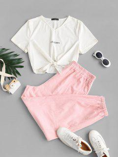 ZAFUL Plus Size Self-tie Destine Graphic Tee And Cargo Pants Set - Light Pink 2xl