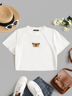 ZAFUL Plus Size Raw Hem Butterfly Embroidered Baby Tee - White 5xl
