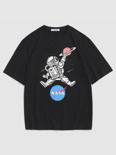 Astronaut Buchstabedruck Graphik T-Shirt - Schwarz M