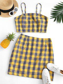 ZAFUL Plus Size Checked Smocked Back Top And Skirt Set - Deep Yellow L