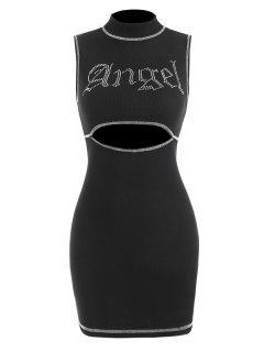 Ribbed Angel Rhinestone Topstitching Cutout Dress - Black M
