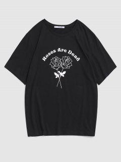 Letter Rose Flower Print Graphic T-shirt - Black M
