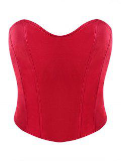 Sweetheart Strapless Sheeny Corset Top - Red M