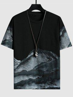 Mountains Ink Painting Print Short Sleeve T-shirt - Black M