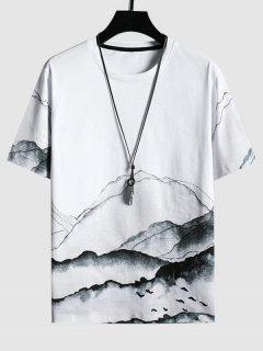 Mountains Ink Painting Print Short Sleeve T-shirt - White S
