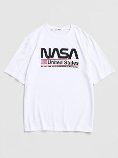 United States American Flag Print Graphic T-shirt - White L