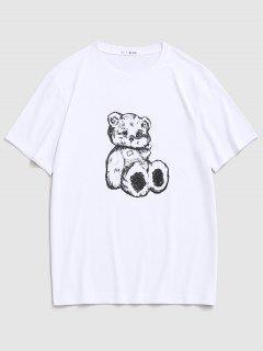 Cartoon Bear Print Cute T-shirt - White L