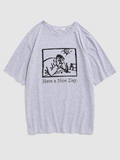Graphic Letter Print Slogan T-shirt - Gray L