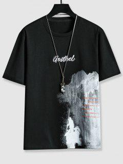Letter Embroidered Graphic Print T-shirt - Black M
