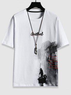 T-Shirt Grafica Con Ricamo Di Lettere - Bianca L