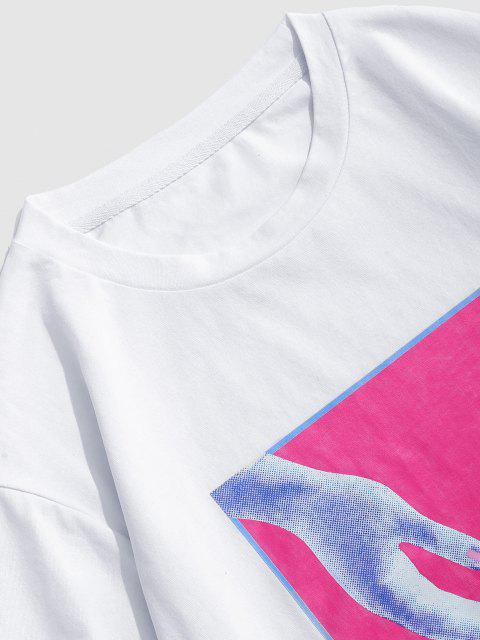 buy ZAFUL Hands Print Casual Graphic T-shirt - WHITE L Mobile