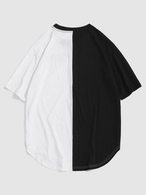 shop ZAFUL Letter Print Two Tone Monochrome T-shirt - BLACK S Mobile