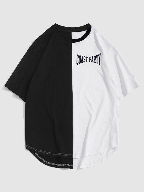 outfits ZAFUL Letter Print Two Tone Monochrome T-shirt - BLACK L Mobile