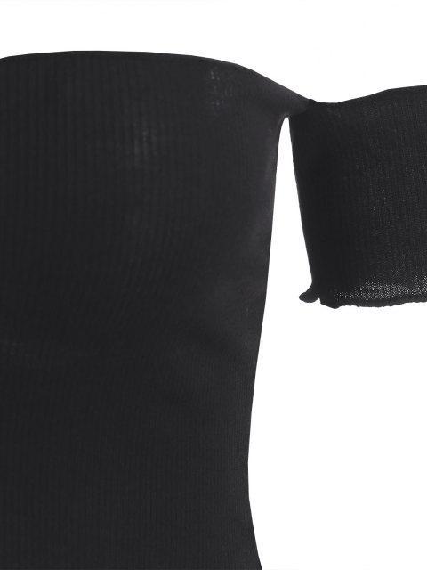 womens Off Shoulder Ribbed Crop T Shirt - BLACK S Mobile