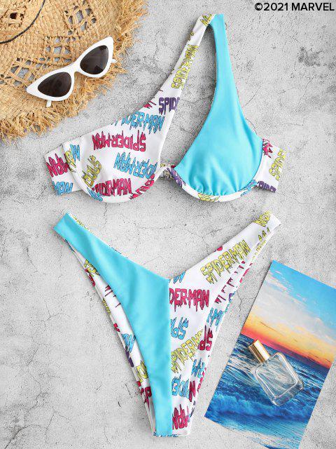 Bikini Imbottito con Monospalla con Stampa di Fiori e Ragno - Blu L Mobile